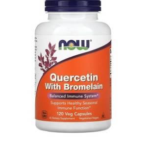 Quercétine avec bromélaïne, 120 capsules végétales se Now,